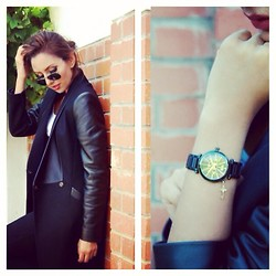 Celebrity Outfitter - Ted Baker Jacket, Vivienne Westwood Watch - Back to black