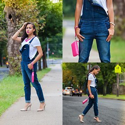 Aimee Kelly - American Eagle Overalls, Stella And Dot Wallet - Overalls