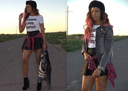 """Slim"" Shay D - Asos Turban Headband, Rebel Redefined Fashion School Dropout Tee, Topshop Plaid Button Down, Unif Denim Jacket, Free People Faux Leather Skirt, Shoe Cult Booties - Schoolin' Life"