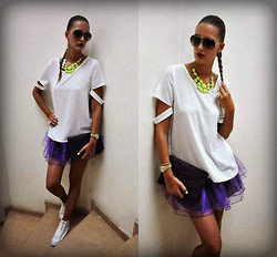 Amina Allam - Dolce & Gabbana Sunnies, Romwe Necklace, Abaday White Cut Out Blouse, Choies Purple Organza Skater Skirt, Saint Laurent Clutch, Converse Sneakers - White cut-out blouse & purple organza skirt