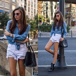 Larisa Costea - Sheinside Shorts, Oasap Shirt, Jessica Buurman Boots, Jadu Bag - White ripped jeans