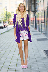 Ilda Hadzic - Sheinside Tank Top, Sheinside Blazer, Black Five Shorts - Purple