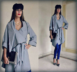 Amina Allam - Choies Navy Cap, Choies Necklace, Modekungen Grey Mid Season Cape Coat, Fendi Envelope Clutch, Zara Slim Jeans, Christian Louboutin Lace Heels - Grey mid-season coat