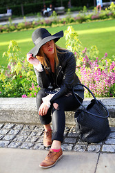 Alexandra G. - Walter Baker Leather Jacket, James Jeans Coated Skinny, Shoe Embassy Oxford Shoes, One Fated Knight Leather Tote - Paint it Black