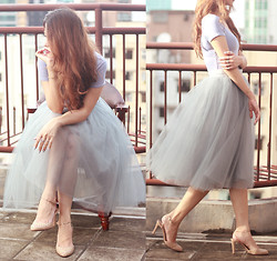 Mayo Wo - Pandora Rings, Alexandra Grecco Dusty Blue Tulle Skirt - Slowly, and then all at once