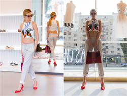 Anastasiia Masiutkina - Josh Goot Top, Ksenia Schnaider Trousers, Rupert Sunderson Shoes, Sara Battaglia Bag - Ready for action!:)