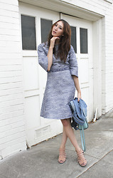 Alyssa Casares - Alyssa Nicole Bell Sleeve Aline Dress, Freda Salvador Explore Heels, Calvin Klein Denim Jacket, Kate Spade Purse - Shades of Cool