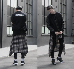 Joel Mcloughlin - Admirable Admire, The Jacket, Asos Faux Leather Cap, Longline Plaid Shirt, Nike Tier 0 Air Max - Admire