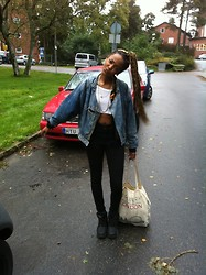 Fre Hagos - Topshop Cropped Top, Buffalo Buffalos, Primark Tot Bag, Vintage Denim Jacket - Casual / cropped