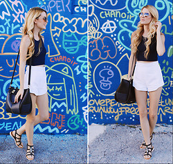 Kristin Ondocsin - French Connection Uk White Shorts, Lilac And Lilies Blue Crop Top, Daniele Nicole Handbag, French Connection Uk Sandals - A SECOND LOOK