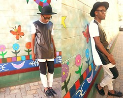 Ronald Gravesande - Asos Black And White Colorblocked T Shirt With Leather Cutout, Forever 21 Grey And Black Colorblocked Joggers, Aldo Black Mohair And Leather Shoes, Urban Outfitters Black Hat - There's Color Within the Block