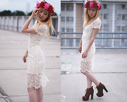 Annette Zer - Lookbookstore Dress, No Name Platform Shoes, Asos Flower Crown - Rooftop