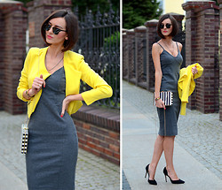 Daisyline . - Romwe Jacket, H&M Dress, Zara Heels - Yellow zippered jacket