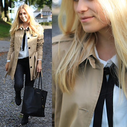 Jille Pille - Michael Kors Jet Set Travel Tote, Tommy Hilfiger Trench Coat, Ikks Bow Blouse, Zara Jeans, Acne Studios Pistol Boots - The perfect trench