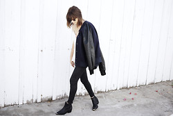Rima Vaidila - Unis Leather Varsity Jacket, Paige Waxed Skinny Jeans, To Be Announced Leather Ankle Boots, Finders Keepers The Label Tank - Leather weather?