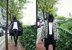INWON LEE - Byther Hat, Zara T Shirt, Givenchy Jeans, Byther Boots, Byther Skull Muffler, Burberry Trench Coat - Crisp in a Rainy Day