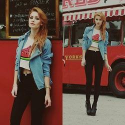 Katarzyna KOKA Konderak - Denim Jacket, Top, H&M Pahnts, Boots, Hair - Watermelon, denim & bustaurant.