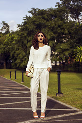 Aileen Belmonte - Blackfive Textured Sweater, Bayo Trousers, Zara Strappy Heels - White Out