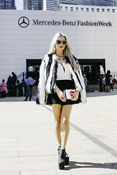 Rachel Lynch - Quay Black And White Sunnies, Bsbale Jacket Black And White Fur, Nasty Gal Black And White Romper, Culture Riot Lips Clutch, Jeffrey Campbell Ankle Boot - New York Fashion Week: Day One