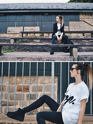 Claudia Michon - Highhopecollective Tshirt, Buffalo Platform Shoes, New Look Jacket, Gap Jeans, Topshop Sunglases - High hope collective