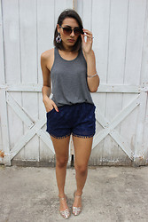 Wendy Carela - Luxe Statements Statement Earrings, Victoria's Secret Grey Tank, Marshalls Pom Pom Shorts, American Eagle Metallic Flats - Simplicity