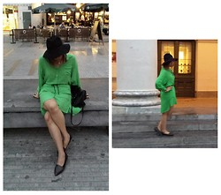 Emilie Soriano - Forever 21 Hat, New Look Purse, Zara Green Shirt Dress, H&M Pointed Flats - Lady in Green