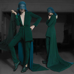 Andre Judd - Jian Lasala Jersey Suit With Train, Trousers And Sheer Veil, Green Laceups - EMERALD CITY