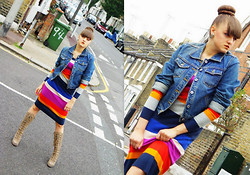 Agata Nika - H&M Knitted Dress, Hush Puppies Knee Boots, Denim Jacket - Knitted stripes