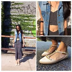 Cleo Y. - The Reformation Azalea Two Piece, Baggu Basic Leather Tote, Melissa Doris Spiked T Strap Flats - Azalea in BKLYN