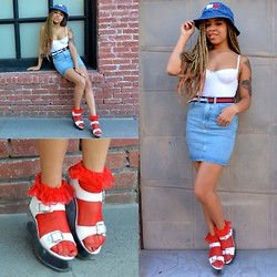 Lee Catherine - Yru Qloud Athena Platforms, American Apparel High Waisted Denim Mini, American Apparel Bustier Body Suit, Ebay Frilly Fishnet Socks, Petahjays Closet Very Rare Bucket Hat - Tommy Girl