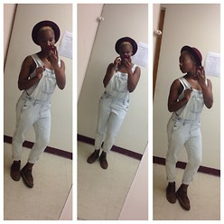 Brionna - Abercrombie Overalls, H&M Hat, Clarks Desert Boots - New Harvest