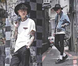 IVAN Chang - P & Co White Tee, Asos Black Pants, Levi's® Vintage Jacket, Dr. Martens Black Shoes - 060914 TODAY STYLE