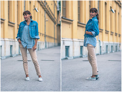 Lea P - United Colors Of Benetton Vintage Denim Jacket, J. Crew Striped Shirt, H&M Denim Pants, H&M Denim Slip Ons - Denim on denim
