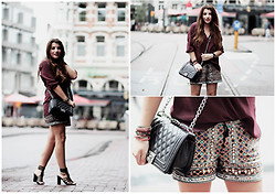 Wendy Van Soest - B Loved Embroidered Shorts, H&M Blouse, Nelly Captive Heels - Shorts in the City