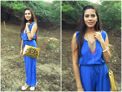 Pooja Mittal - Blackfive Vintage Printed Gold Pu Leather Satchel, Blackfive Diamante Gold Plated Tassel Necklace - All About Gold