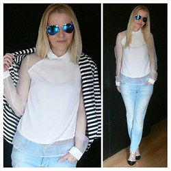 Gabriella B - New Look White Raglan Organza Panel Shirt, Zara Light Blue Vintage Style Ripped Jeans, Oasap Nude And Black Studded Colour Block Heels, New Look Monochrome Stripe Jersey Blazer, Aqua Blue Mirrored Aviator Sunglasses - Blue jean white shirt forever and ever