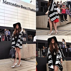 Mariam Argvliani - H&M Zebra Poncho, Zara Fat Bag, Topshop Silver Heels, H&M Hat - Fashion week #day2