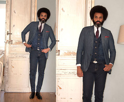 Dualleh Abdulrahman - We Denim Waistcoat, Canda Denim Diy Pants, H&M Black Boots, Bull Gold Buckle, Arrow Cut Away Collar Diy - Denim dapper