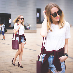 TIPHAINE MARIE - Shorts, Shoes, Bag, Sunnies - NYFW day one.