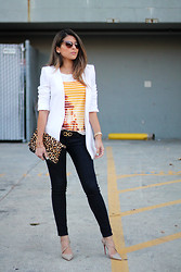Pam Hetlinger - Marc By Jacobs Sunglasses, J. Crew Top, Marciano Jeans, Christian Louboutin Shoes, Express Clutch, Salvatore Ferragamo Belt - J. Crew Printed Top