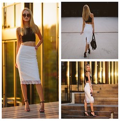 Meryl M - Zara Tube Skirt, H&M Crop Top, H&M Studded Heels - WHITE LACE