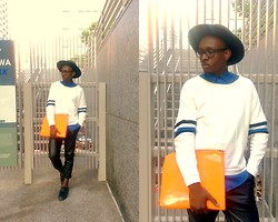 Ronald Gravesande - H&M Royal Blue Dress Shirt, Zara White Sweatshirt With Stripes, Zara Black Leather Pants, Aldo Black Mohair And Leather Shoes, Urban Outfitters Black Hat, Asos Orange Leather Clutch - Sleeves Provide Details