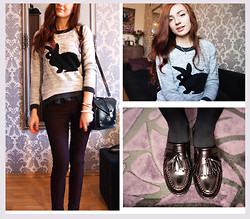 Marie M. - Sophie Bunny Sweater, New Yorker Bag, Pull & Bear Shoes - Run, run, bunny, run