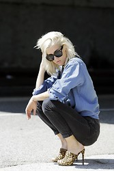 Jenny Parry - Supperclub Eyewear Sunglasses, Madewell Jeans, Shoedazzle Heels - Blue and leopard