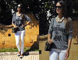 Amina Allam - Giant Vintage Sunnies, Choies Necklace, American Eagle Outfitters Top, Melany Brown London Studded Bag, Zara Bleached Jeans, Chanel Flats - I have nothing to wear