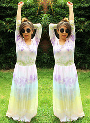 Karen Cardiel - La Cobacha Watercolor Maxi Dress, Circular Sunglasses - 5 SEP / HBD to me