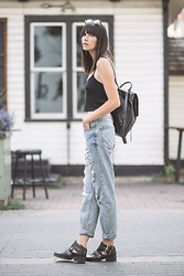 Ania B - Topshop Top, Topshop Jeans, Zara Boots, Rag & Bone Backpack, Komono Sunglasses - Heat wave