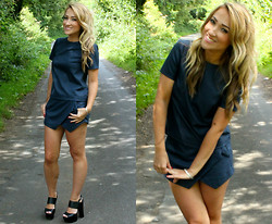 Monica B. - New Look Short Sleeve Top, New Look Wrap Skort, New Look Chunky Black Heels - Matchy Match