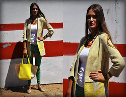 Amina Allam - Zara Yellow Coat, Melany Brown London Tote Bag - Yellow & green