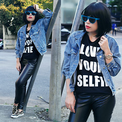 Priscila Diniz - Love Your Selfie T Shirt, Sunglasses, Flats, Denim Jacket - LOVE YOUR SELFIE
